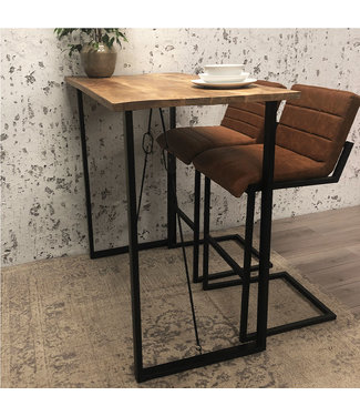 Dimehouse Table de bar Industrielle Vegas 130x70x115 cm bois de manguier