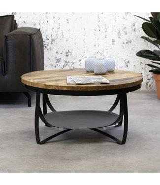 Dimehouse Table Basse Bois Massif Industriel 90 cm - Oxis