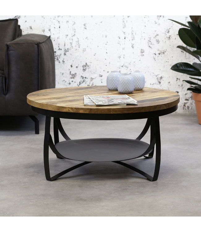 Dimehouse Table Basse Bois Massif Industriel 90 cm - Oxis