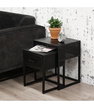 Dimehouse Table d'Appoint Industriel set Solange métal