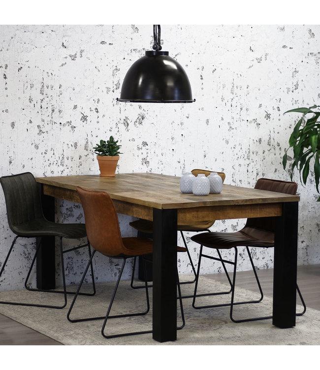 Dimehouse Table salle à manger Industrielle Kansas 240x100 cm - bois de manguier