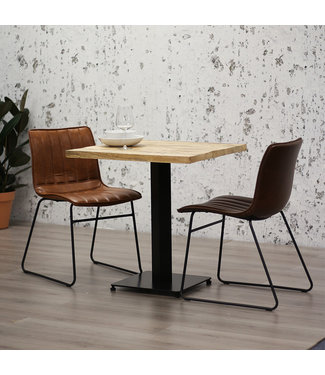 Dimehouse Table Bistrot Carré  Industriel - 80x80 cm