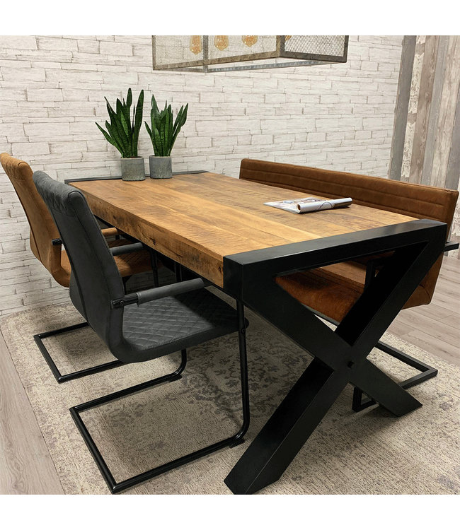 Dimehouse Table Salle A Manger Industrielle Ashton 200x100 - Bois De Manguier