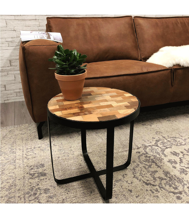 Dimehouse Table d'Appoint Ronde Industriel Kelso