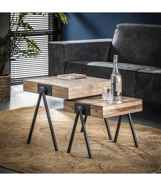 Table Basse 50/45 cm Industriel - Bois Teck Carré Set De 2 Robbie