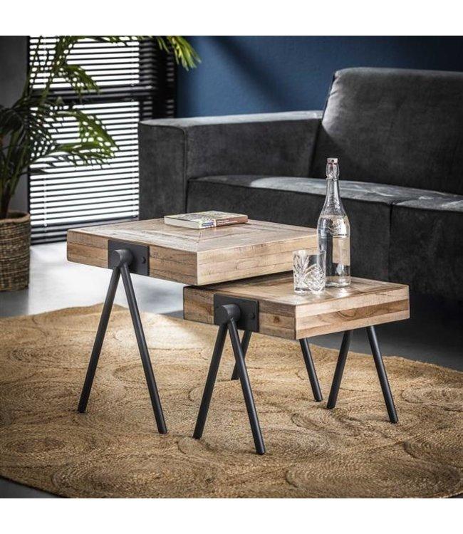 Table Basse 50/45 cm Industriel - Bois Teck Carré Set De 2 Robbie