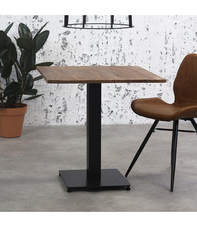 Dimehouse Table Bistrot Carré Métal Bois Massif - 70x70