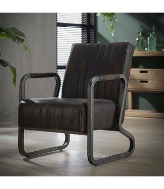 Industriële vintage fauteuil Mikado bruin