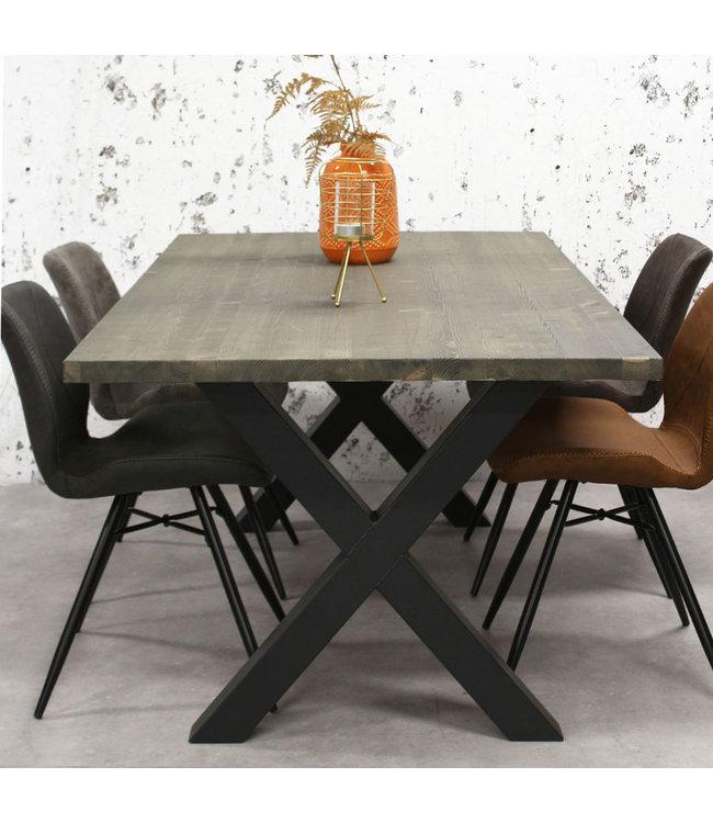 Dimehouse Table Salle A Manger Bois Gris Massif Pieds-X 140x80 cm - Daan