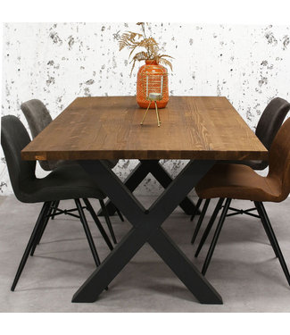 Dimehouse Table Salle A Manger Bois Brun Massif Pieds-X 140x80 cm - Daan