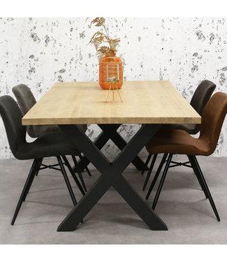 Dimehouse Table Salle A Manger Bois Massif Pieds-X 160x80 cm - Daan