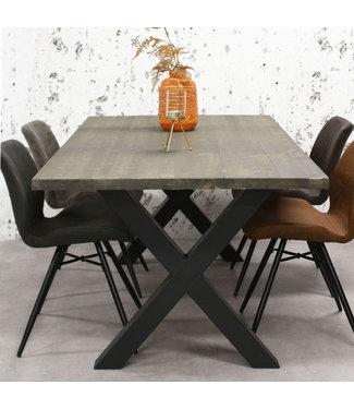 Dimehouse Table Salle A Manger Bois Gris Massif Pieds-X 200x100 cm - Daan