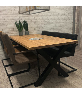 Table Salle A Manger Bois Massif Pieds-X 140x80 - Sibérie