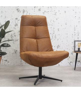 Dimehouse Industriële draaibare fauteuil cognac Dion Eco leder