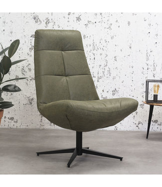 Dimehouse Industriële draaibare fauteuil groen Dion - eco leer