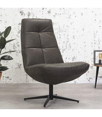 Dimehouse Industriële draaibare fauteuil antraciet Dion - eco leer