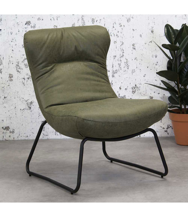 Dimehouse Fauteuil Industriel Vert Éco-cuir Max