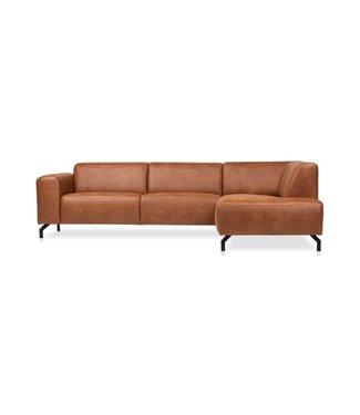 Canapé d'Angle Marron Microfibre Industriel Barin - Droit