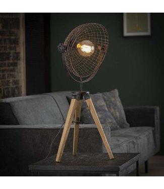 Industriële houten 3 poot tafellamp Duen met draadkap