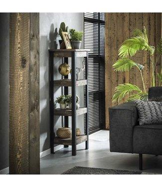 Dimehouse Industrieel wandrek Liv teak hout en metaal 150 cm hoog