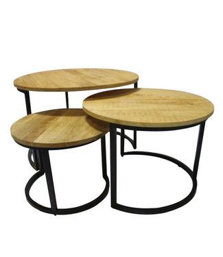 Industriële salontafel set van 3 Wes