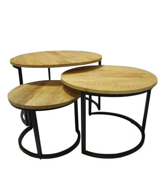 Table Basse Set De 3 Bois Massif Industriel - Wes