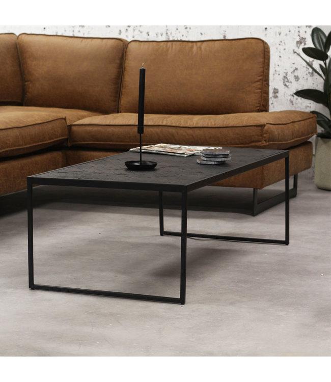 Table Basse Bois Teak Industriel 120x60 cm - Blackster