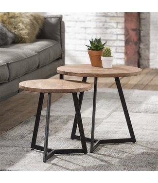 Table Basse Ronde Double Plateau Brandy