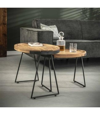 Table Basse Set De 2 Bois Massif Industriel - Brick