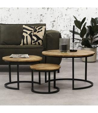 Dimehouse Industriële Salontafel Set Van 3 Tritan Hout - Rond