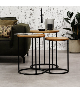 Dimehouse Table Basse Set De 3 Bois Massif Industriel - Gwen
