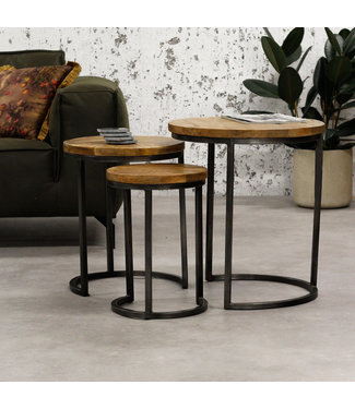 Dimehouse Table Basse Set De 3 Bois Massif Industriel - Chantal