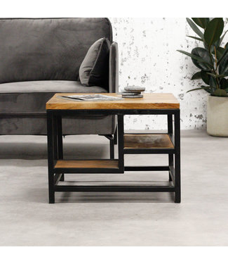 Dimehouse Table Basse Bois Massif 60x60 cm - Livia