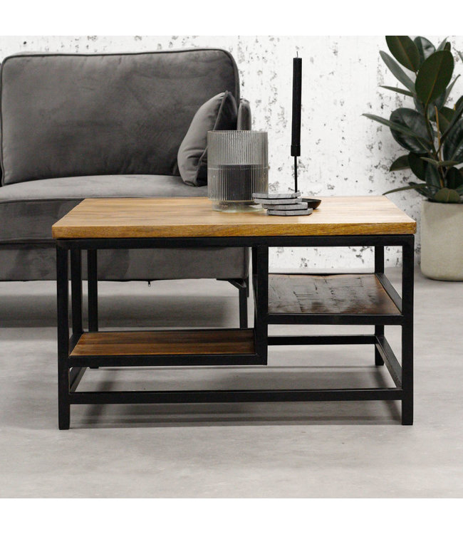 Dimehouse Table Basse Bois Massif 90x60 cm - Livia
