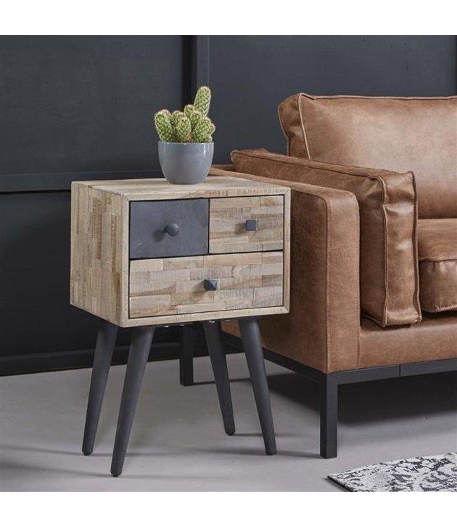 Dimehouse Table De Chevet Bois Teck Design Industriel 3 Tiroirs - Cloë