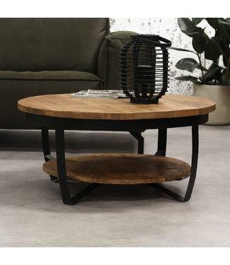Dimehouse Industriële ronde salontafel Baldo hout 90 cm