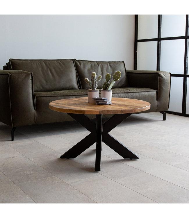 Table Basse Bois Massif Industriel 80 cm - Yara