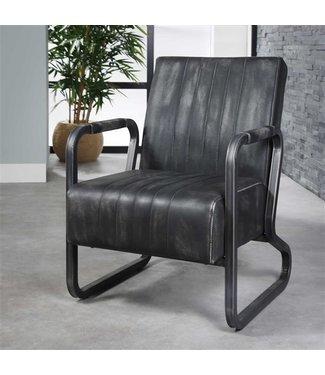 Industriële vintage fauteuil Mikado antraciet