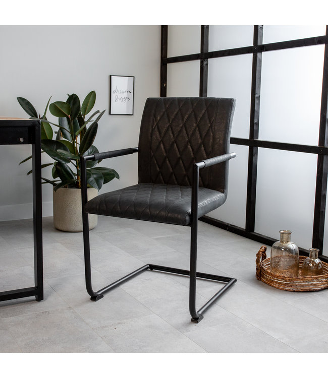 Dimehouse Chaise de salle à manger Industrielle Bexley noire