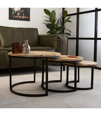 Table Basse Set De 3  Bois Massif Industriel - Nolan