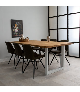 Table Salle A Manger Pieds U 160x90 - Sibérie Blanc