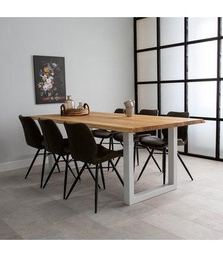 Table Salle A Manger Tronc D'Arbre Pieds U 140x80 - Sibérie Blanc