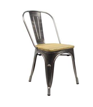 Dimehouse Industriële retro stoel Blade metaal met hout
