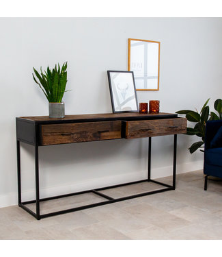 Industriële Sidetable Rayan Hout 2 Lades