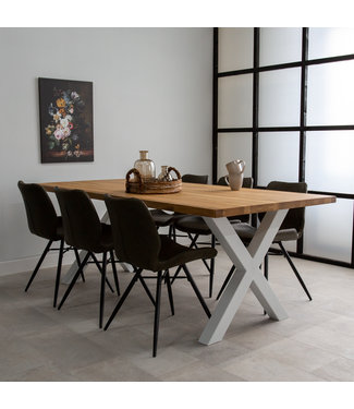 Dimehouse Table Salle A Manger Pieds X 220x100 - Sibérie Blanc