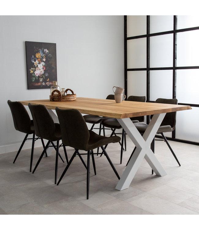 Table Salle A Manger Tronc D'Arbre Pieds X 220x100 - Sibérie Blanc