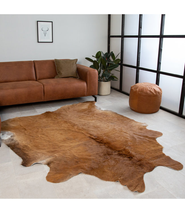 Koeienhuid 140x200 bruin lang haar