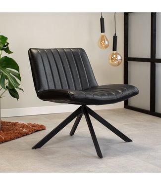 Dimehouse Draaibare fauteuil industrieel Leon zwart