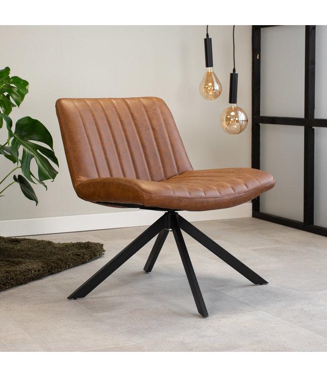 Dimehouse Draaibare fauteuil industrieel Leon cognac