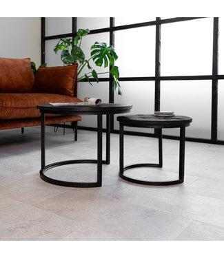 Dimehouse Industriële salontafelset van twee Calla Zwart